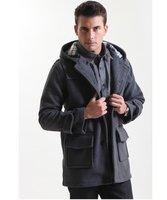 Big New Men's Wool Coat Outdoor Jacket Trench Coat Outerwear Overcoat Winter Men Hood Windbreaker Spring