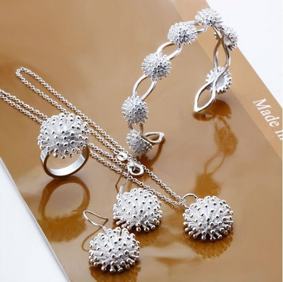 fashion 925 silver jewelry set cuff bangle ring necklace earrings jewellery sets free shipping gift S004(China (Mainland))