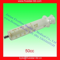 Glass Syringe With Metal Luer Lock Tip Metal Tip 50ml /50cc