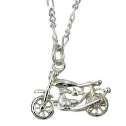 Free shipping lovely motorbike shape fashion silver plated pendant necklace