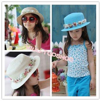 Free shipping New arrival Nice Cute Lovely Girl Kids Children Princess wreath straw hats sun beach hats Top hat Best seller