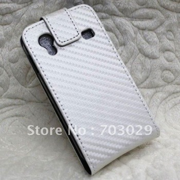For Samsung Galaxy Ace S5830 Carbon Fiber Case,Leather Flip Cover/Pouch with black & white + free shipping 10pcs/lot