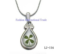 Waterdrop shaped lucky pendant  wholesale 30pcs/lot real four leaf clover charm necklace mixed order free shipping LJ-116