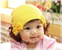 free shipping 10pcs Crochet Hat Beanie cap, Wig hat, hand made hats handmade ears caps ,  christmas gift