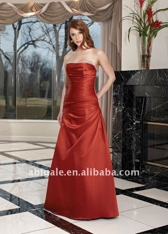 Pleated Strapless A-line Taffeta Bridesmaid Dress Online(NS50134)(China (Mainland))