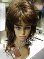 Beautiful cosplay brown curly Synthesized Women's Wig wigs  free shipping