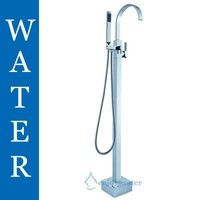 Free Standing Floor Mounted Solid Brass Freestanding Bath Tub Mixer Tap Spout Shower Faucet With Handheld Shower F133