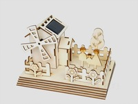 Wholesale Solar 3D puzzle Solar windmill house Solar powered toys Educational toys  Christmas gifts 36pcs/lot Free shipping
