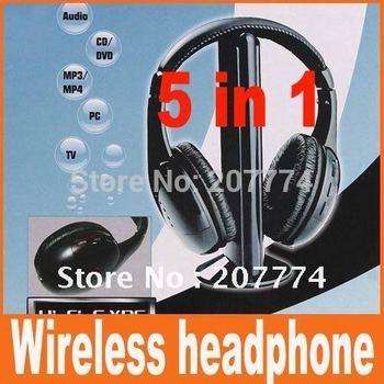 5 in 1 HIFI Wireless headphone Earphone Headset wireless Monitor FM radio for MP3 PC TV CD Free Shipping