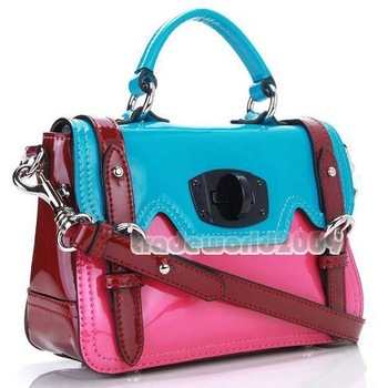2011 Newest Style 100% Calfskin Leather Handbag Fashion 3 Colors Mix Match Genuine Leather Totes Shoulder Handbags Bags