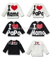 16pcs/lot-Long Sleeves Baby rompers/Girl's T-Shirt/I love papa and I love mama Cotton T-Shirt