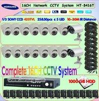 16CH 1/3 SONY CCD 420TVL security cctv system 1TB HDD HT-8416T-01