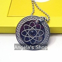 stainless steel ion quantum scalar energy pendant with germanium far infrared stone 30pcs/lot
