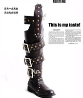 65 CM new punk rock side buckle super handsome rivet super tall canister boots knee-high boots men riding boots male boots