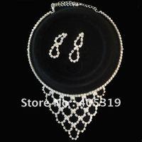 fashion silver diamond bridal wedding necklace and earring set