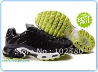 free ship fashion shoes black green sole LEATHER TN MEN SPORTS RUNNING SHOES  wholesale and retail
