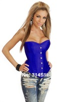 Promotion!! Free shipping!! pure blue colour sexy corset, lingerie, push-up full-boned corset  (20102)