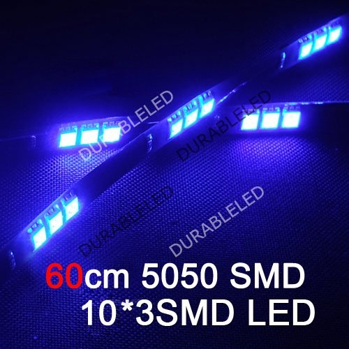 60cm SMD 5050 flexible Strip lighting car vehicle truck 30 LED lamps 10*3 LED day time running light waterproof blue 12V 30pcs(China (Mainland))