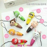 new arrive wholesale 30pcs/lot  cute Korean wooden cartoon mobile phone chain/cuteBall point pen/sweet keychain/mp4 chian