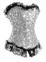 Promotion!! Free shipping!!  grey colour print bra suit sexy corset, lingerie, push-up full-boned corset  (20048)