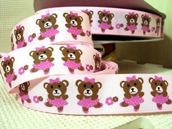 david ribbon 7/8 '' cute bear dancing pink grosgrain ribbon hairbows printed ribbon freeshipping(China (Mainland))