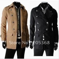 Мужская ветровка Hot Men's Jacket, Men's Double Platoon To Buckle LiLing Badges Dust Coat Male Coat Color:Black, Gray Size:M-L-XL-XXL