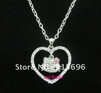 lovely hello kitty crystal heart pendant necklace t24+free shipping