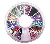 Free shipping Nail Decoration 12 Shape color Glitter Rhinestones Nail Art Wheel DIY