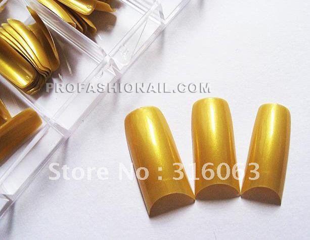 100PCS/Set gold Pearlescent French Fake Nail Tips With Box NA407b(China (Mainland))