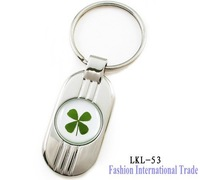 Real four leaf clover charm keychain 30pcs/lot wholesale mixed order cute keyring pendant fashion jewelry LKL-53