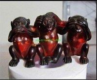 luck Tibet Amber Engraving 3 Monkeys Statue free shipping