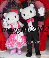 Hello kitty And Daniel Scott Cat Cartoon Adult Size Mascot Costume Fancy Dress Animal mascot costume