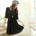 free shipping FY8742 2013 new spring top girl autumn chest pleated pocket Sleeve Cotton casual Dress -Black S/M