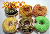 Cute Cartoon Squishy DONUT Phone Charm / Keychain gift For XMAS Wholesale Lots OF 1000