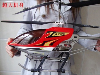 Super size 91cm Sky King Metal body gyro 3CH remote control helicopter with LED lights 3ch RC plane toy Free Shipping