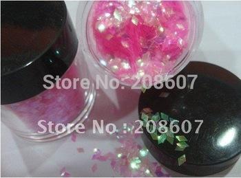 Free shipping  12 pots/set  Rainbow Color Diamond Shape Rhombus Glitter Spangle Nail Art