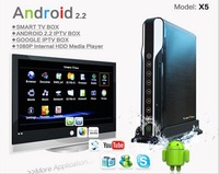 free shipping Hot Baru X5 Full HD 1080P Media Player Android 2.2 IPTV Smart online TV Box