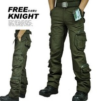 Men Women Fashion Outdoor Pants Hiking Camping Cotton Many Pockets  Pants trousers  Color:Army Green Size:27-38
