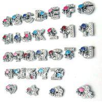 Diy full clear rhinestone letter skeleton enamel metal charm for bracelet