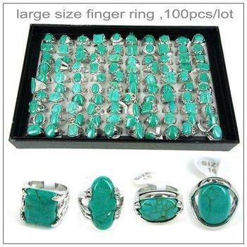 promotional mixed large turquoise ring ,100pcs/lot