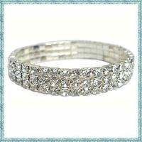 Free shipping fashion popular stretch two rows rhinestone crystal bracelet