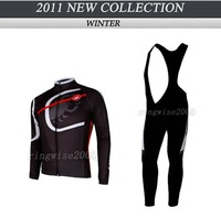 Free Shipping!! MEN'S WINTER THERMAL FLEECE CYCLING JERSEY+BIB PANTS 2011 CASTELLI-TEAM WHITE&black SIZE:XS-4XL
