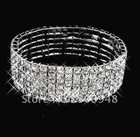 fashion popular stretch 6ROWS silver rhinestone crystal bracelet