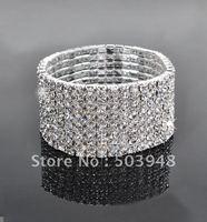 fashion popular stretch 8ROWS silver rhinestone crystal bracelet