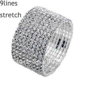 fashion popular stretch 9ROWS silver rhinestone crystal bracelet