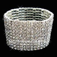 fashion popular stretch 10ROWS silver rhinestone crystal bracelet