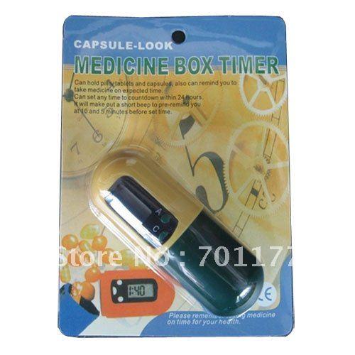 Cápsula 10pcs/lot mirada temporizador medicina caja con pantalla lcd