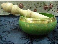 Superb tibet green copper buddhism singing bowl free shipping