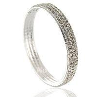 fashion popular 3rows silver rhinestone crystal silver metal bangle