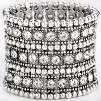 fashion popular stretch 3rows antique clear rhinestone alloy arm bangle
